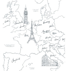 Hand drawn tourist map with sights of Europe vector image vector image