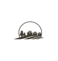 House pine tree villa logo vector
