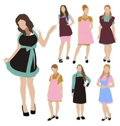 Housewife woman silhouette set vector