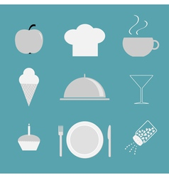 Restaurant icon set Chef hat cloche coffee plate vector image vector image