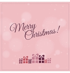 Retro Christmas card with christmas present - pink vector image