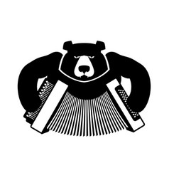 Russia logo bear with accordion grizzlies with an vector