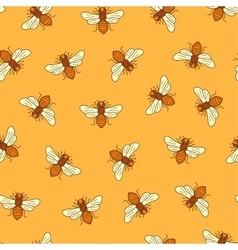 Seamless honey bee pattern vector