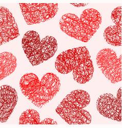 Seamless pattern with sketchy hearts vector image vector image