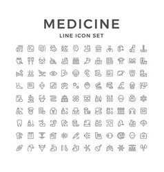 set line icons of medicine vector image vector image