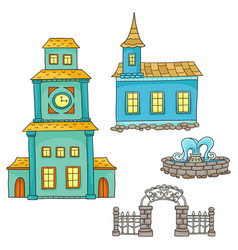 Set with different houses sketches houses vector