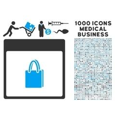 Shopping bag calendar page icon with 1000 medical vector