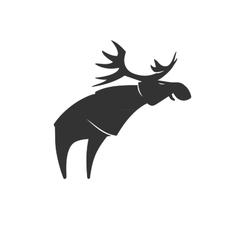Stylized silhouette moose logo emblem vector