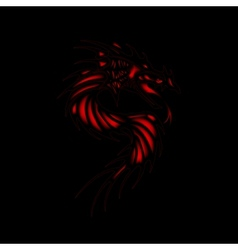 Tattoo red dragon black background vector image vector image