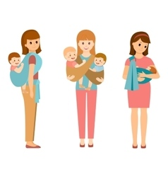 Three mothers with children in slings vector image vector image