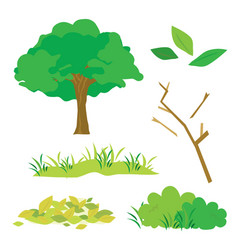 tree leaves grass bush branch flora cartoon vector image vector image