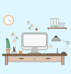 workspace for freelancer with vector image vector image