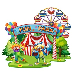 Two clowns in the fun park vector image