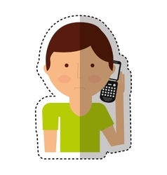 Man calling with cellphone character vector
