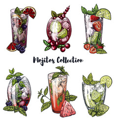 Set of six colorful sketches of mojito cocktails vector