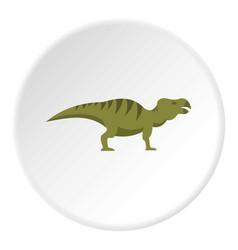 Striped hadrosaurid dinosaur icon circle vector