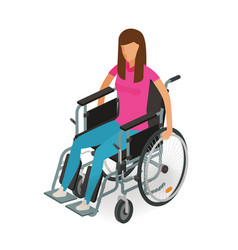 Girl woman sitting in wheelchair invalid vector