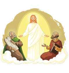 Transfiguration jesus christ with elijah and moses vector