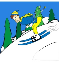Cartoon skier traveling at high speed from the vector