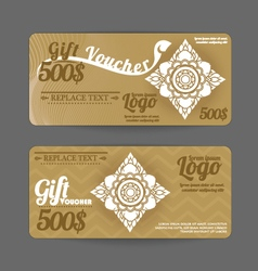 Gift voucher thai art pattern vintage design vector