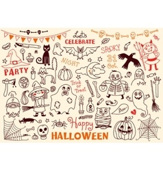 Halloween set of design elements vector
