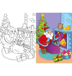 Coloring book of santa claus gets gifts vector