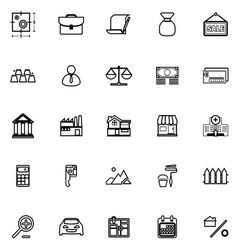 Mortgage and home loan line icons on white vector