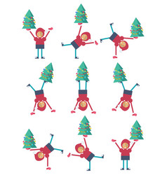 A christmas elf doing a somersault vector