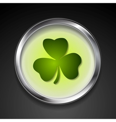Abstract button with shamrock vector image