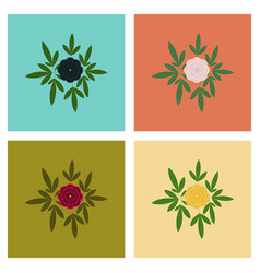 Assembly flat flower paeonia vector