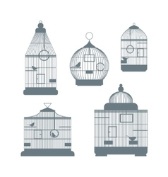 Birdcages set vector