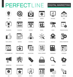 Black classic digital marketing web icons set vector