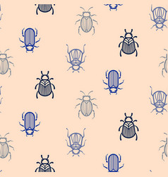 Blue line style beetle seamless pattern for vector