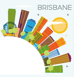 Brisbane skyline with color buildings blue sky vector