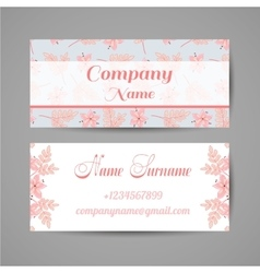 Business Card Pink Flowers vector image vector image