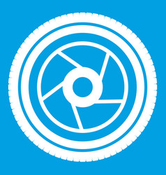 Camera aperture icon white vector