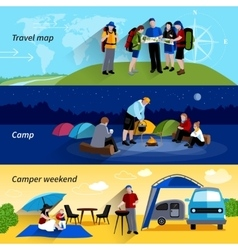 Camper People Banners Set vector image
