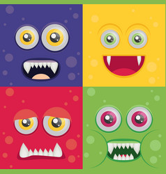 Cartoon monster set in flat style happy halloween vector