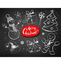 Christmas chalked line art set vector