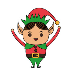 color image cartoon full body christmas elf with vector image