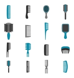 Comb Icons Flat Set vector image vector image