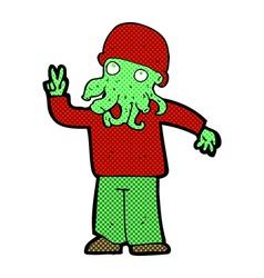 Comic cartoon cool alien vector