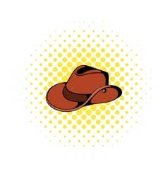 Cowboy hat icon in comics style vector