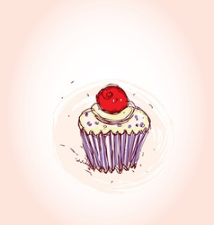Cupcake with cherries and cream Hand drawn sketch vector image vector image