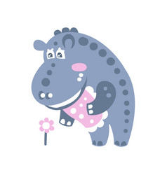 Cute cartoon hippo character standing and looking vector