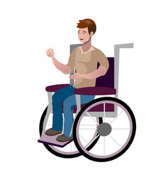disabled young man in wheelchair vector image vector image