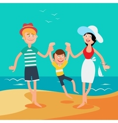 Family summer vacation happy family on the sea vector