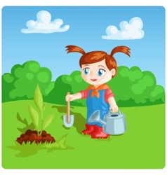 Girl doing garden work vector