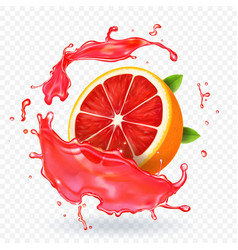 grapefruit juice splash fruit fresh realistic icon vector image