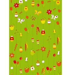 green background with easter eggs vector image vector image